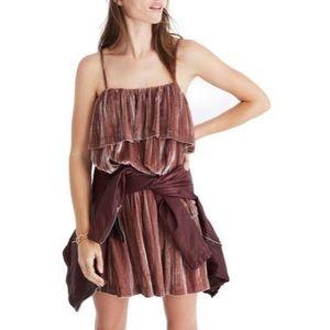 Madewell Pink Ruffled Crushed Velvet Camisole